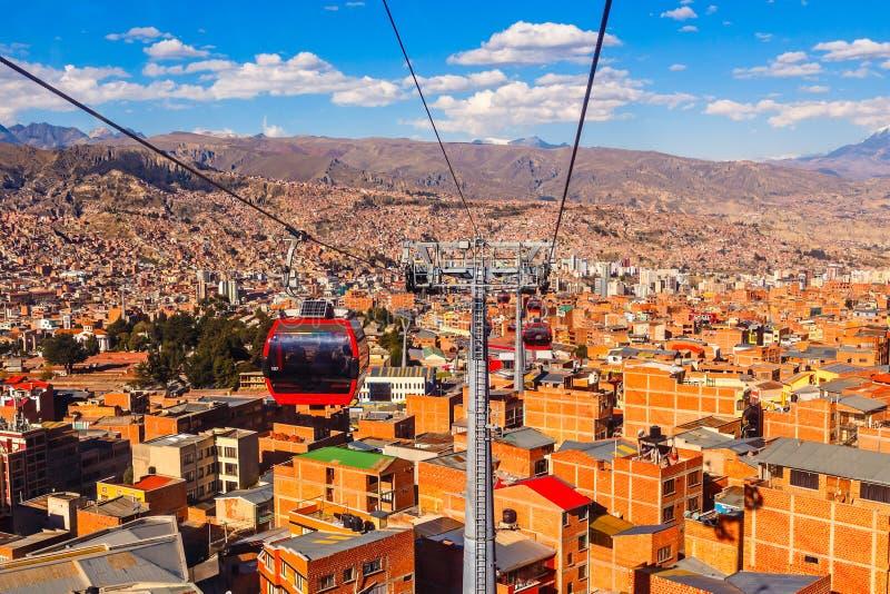 电车或缆索铁路的系统在玻利维亚的首都,拉巴斯,玻利维亚的橙色屋顶和大厦 免版税库存图片