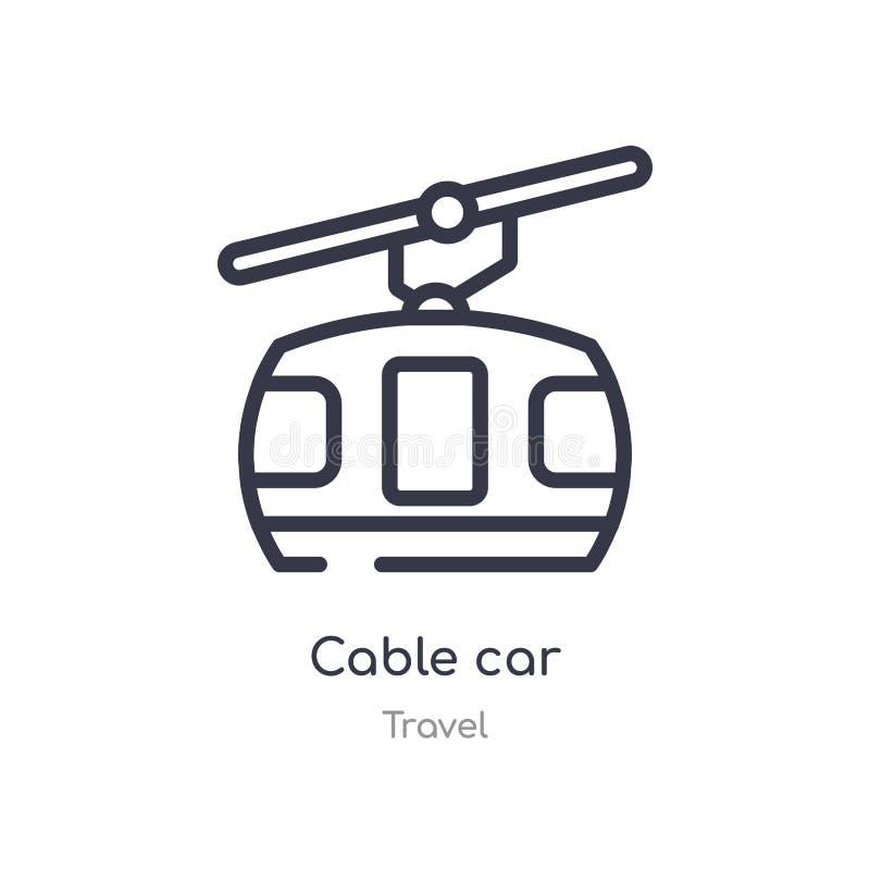 电车概述象 被隔绝的线从旅行汇集的传染媒介例证 在白色的编辑可能的稀薄的冲程电车象 库存例证