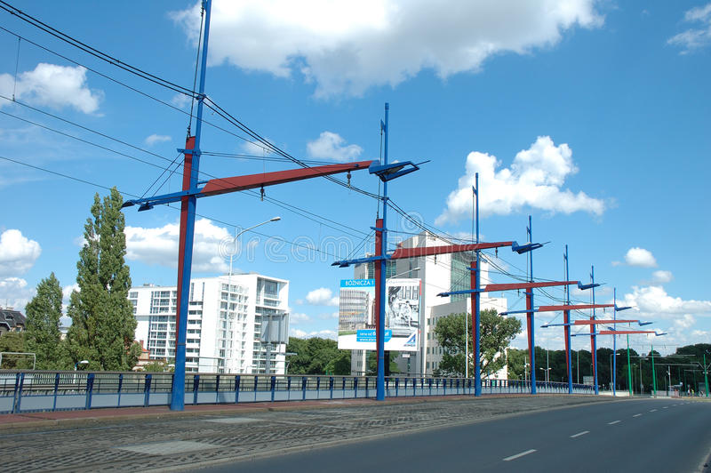 电车电牵引在波兹南,波兰 免版税图库摄影