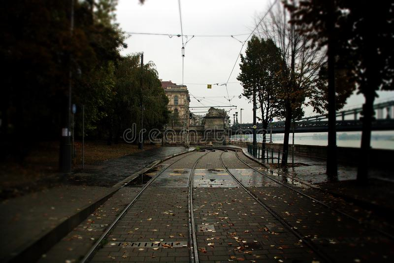 电车的轨道在布达佩斯匈牙利 库存图片