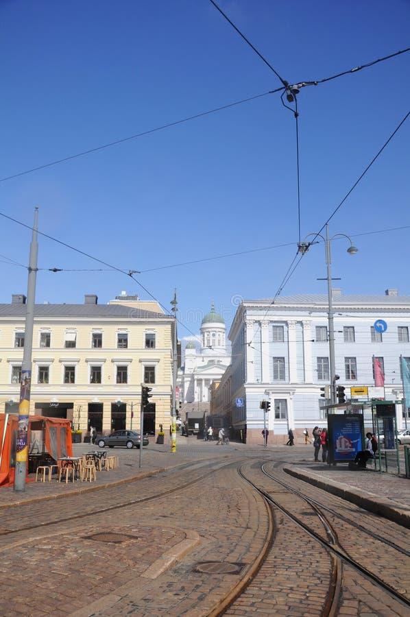 电车轨道在赫尔辛基 免版税库存照片