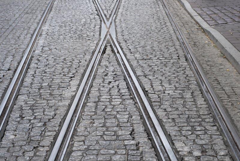 电车铁路在克拉科夫 库存图片