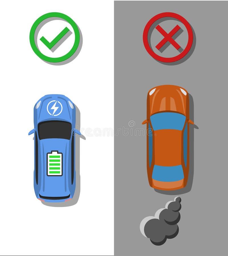 电运输概念 有通常combussion汽车比较的电车 库存例证