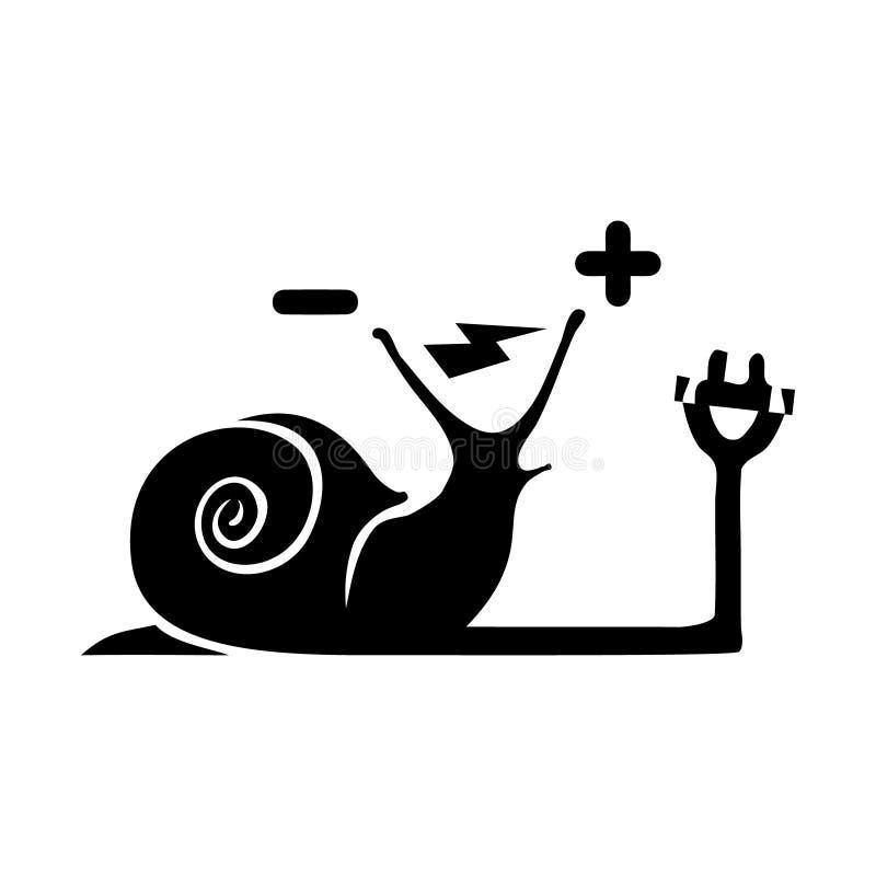 电运输被隔绝的标志象 与电一刹那点燃的雷电标志的迁徙的e蜗牛剪影 停车 库存例证