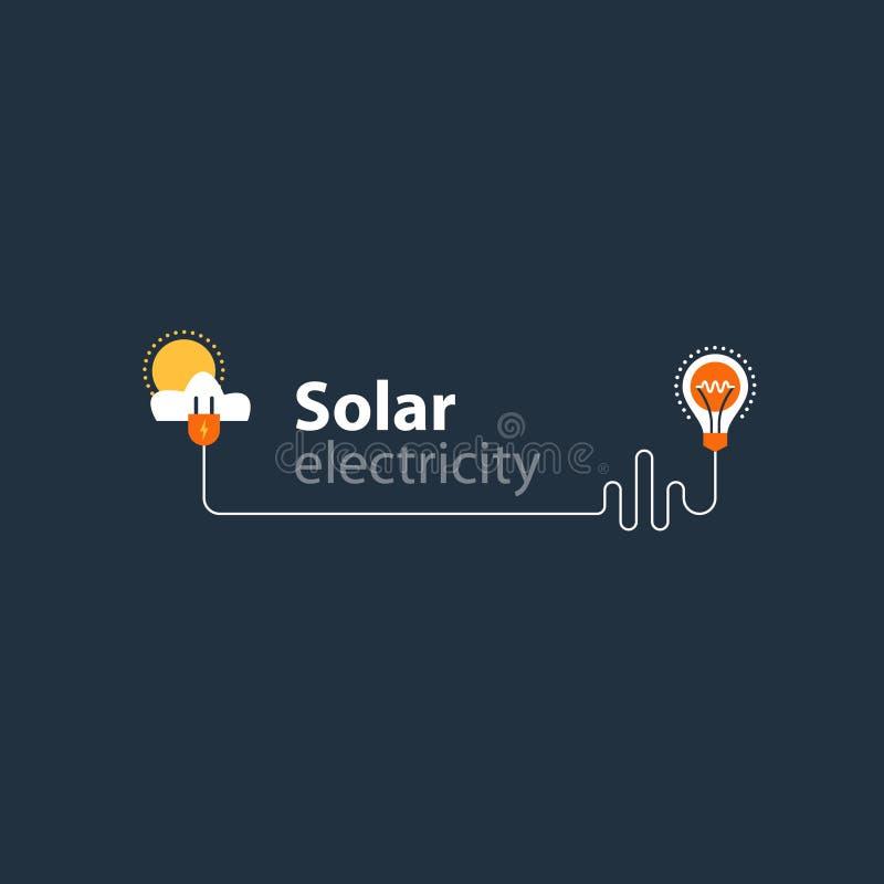 电连接,太阳用电供应,节能 皇族释放例证