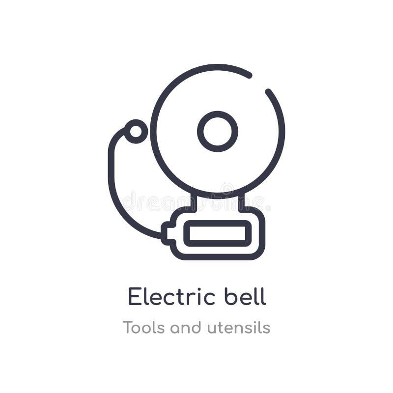 电铃概述象 被隔绝的线从工具和器物汇集的传染媒介例证 电编辑可能的稀薄的冲程 皇族释放例证