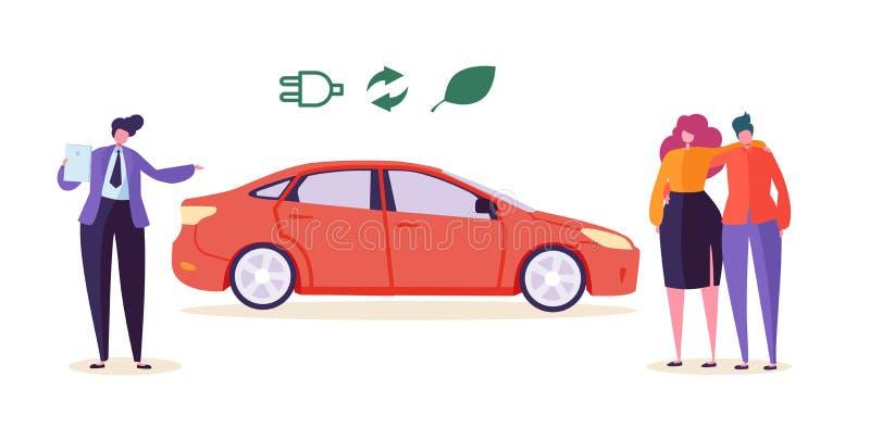 电镀Eco汽车卖主卖自动夫妇人妇女字符购买生态友好的运输车环境污染 库存例证