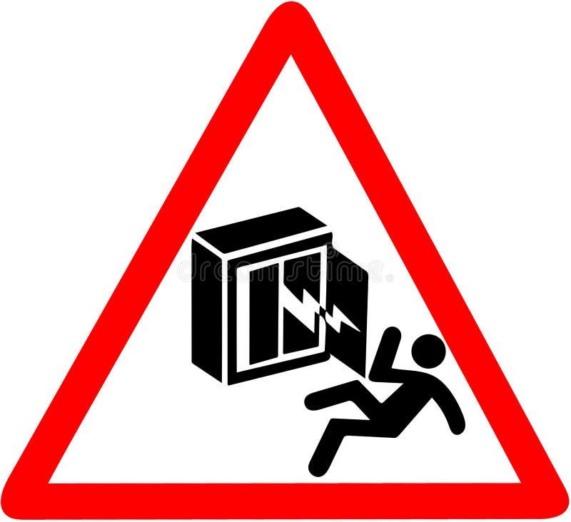 电震动警告,死者的风险 只有授权人 在白色隔绝的红色三角警告信号标志 皇族释放例证