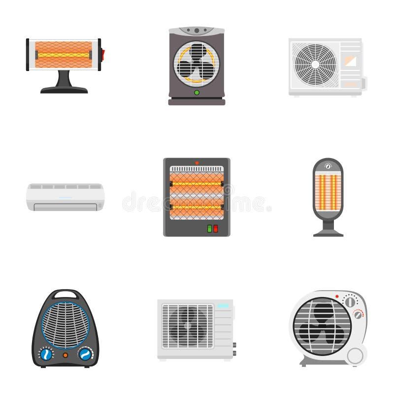 电风扇加热器象集合,平的样式 向量例证
