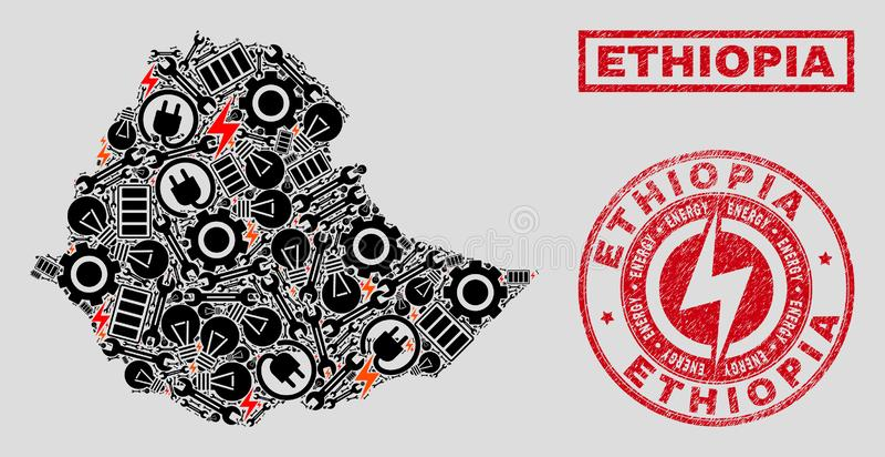 电马赛克埃塞俄比亚地图和雪花和难看的东西封印 库存例证