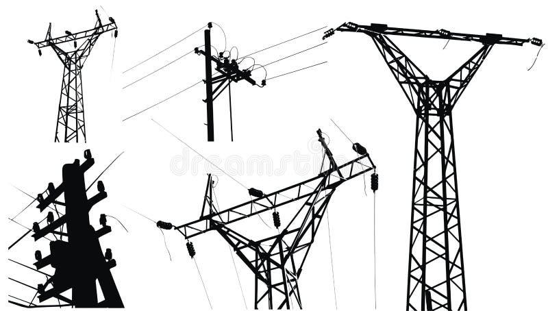 电高杆电压 皇族释放例证