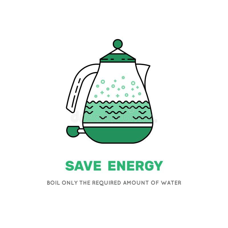 电水壶救球电象 向量例证