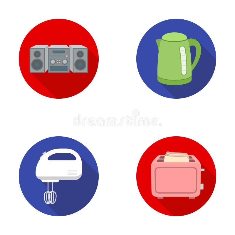 电水壶,音乐中心,搅拌器,多士炉 在平的样式的家庭集合汇集象导航标志股票 库存例证