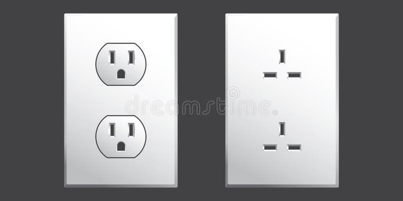 电绿色出口电源插座二墙壁 库存例证