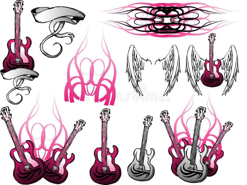 电grunge吉他集 库存例证