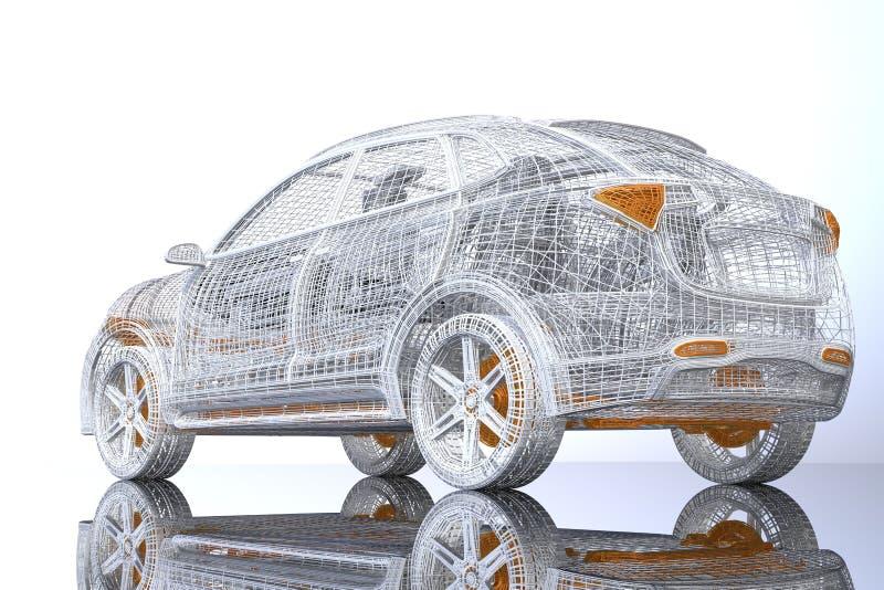 电SUV银色和黄色导线框架背面图在光滑的地面的 皇族释放例证
