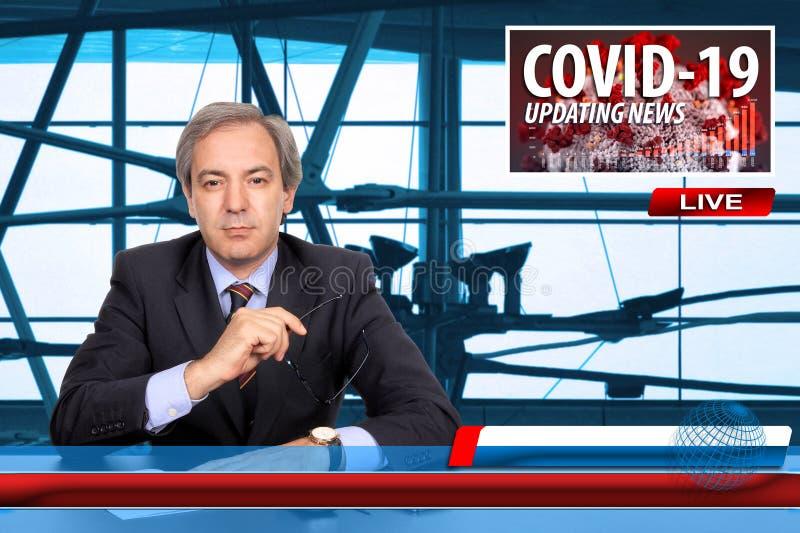男主播报道新流行冠状病毒Covid-19的最新消息的电视新闻屏幕 免版税图库摄影