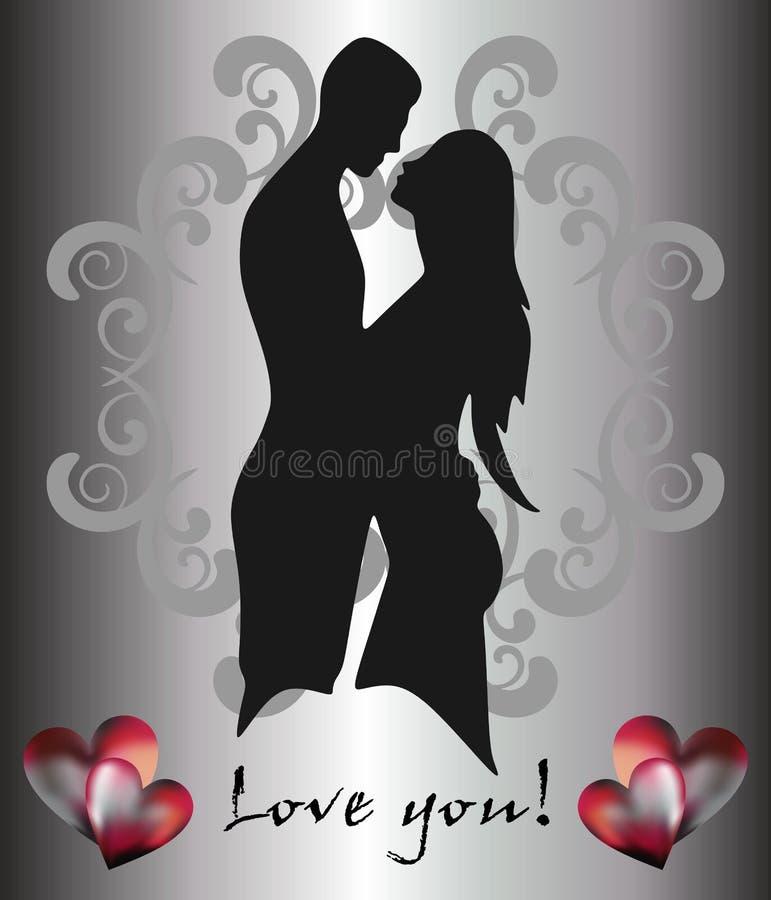 男人、妇女和爱愿望 向量例证