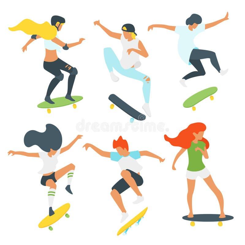 男人和女子溜冰者剪影 皇族释放例证