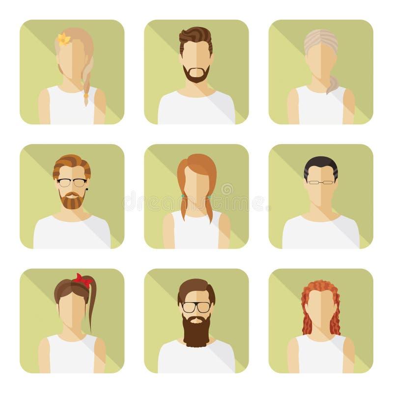 男人和妇女传染媒介具体化在现代平的样式设置了 向量例证