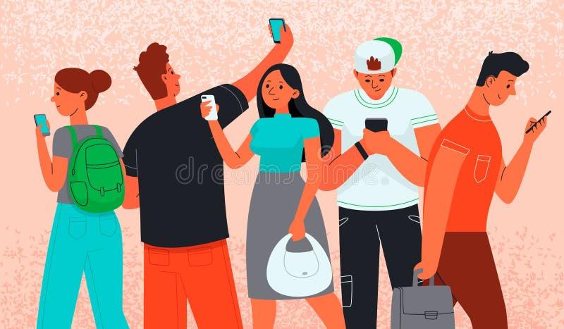 男人和妇女使用智能手机沟通 瘾被画的现有量例证互联网向量白色 电话作为信息源 皇族释放例证