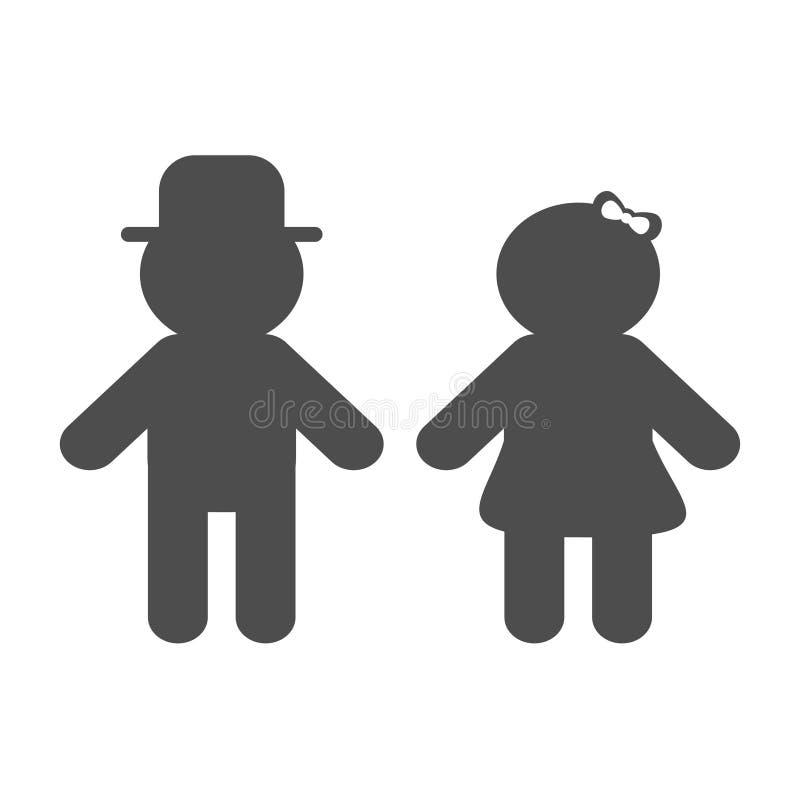 男人和妇女剪影象 黑色形状 休息室标志 帽子和弓 男孩女孩标志 被隔绝的白色背景平的设计 皇族释放例证