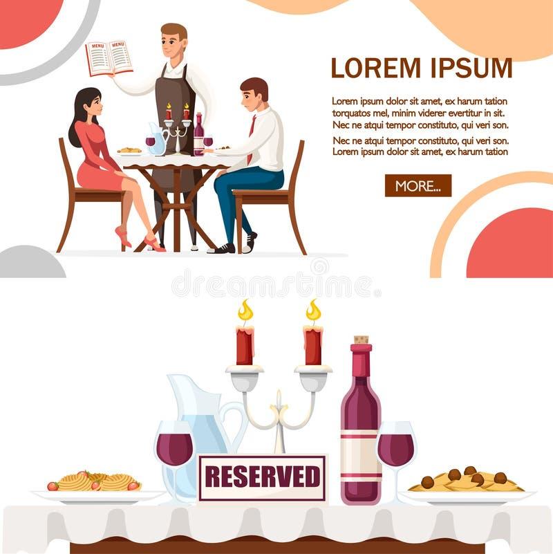 男人和妇女在日期在餐馆,有菜单的侍者 与红酒酒瓶、大烛台和意大利面团的表 卡通人物 向量例证