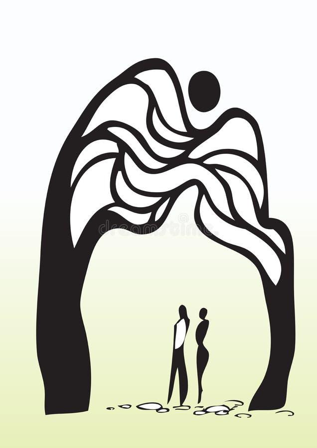 男人和妇女在结构树下 向量例证