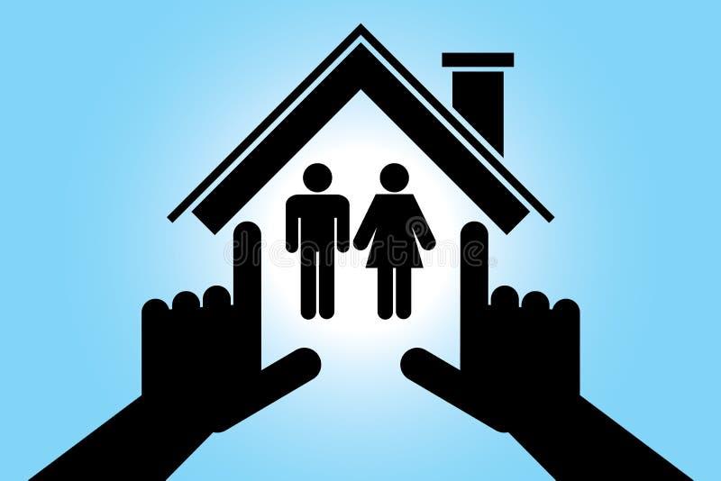 男人和妇女在房子里 向量例证