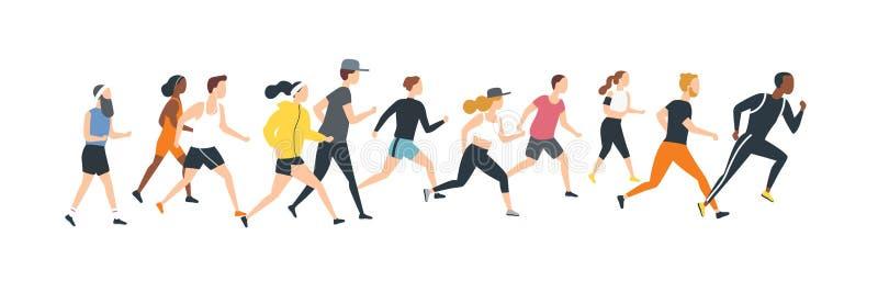 男人和妇女在跑马拉松长跑的体育衣裳穿戴了 设法竞技事件的参加者逃脱其中每一 皇族释放例证