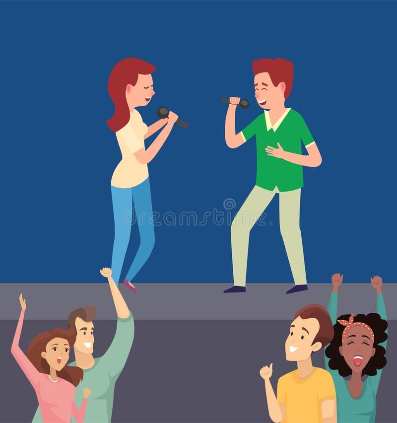 男人和妇女在阶段,平的传染媒介的唱歌歌曲 向量例证