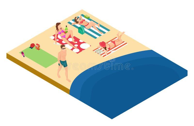 男人和妇女基于海滩等量传染媒介设计 皇族释放例证