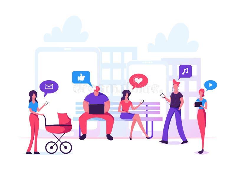 男人和妇女字符通信通过互联网在城市公园,社会媒介网络,闲谈,录影,新闻,消息 库存例证