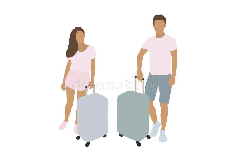 男人和妇女带着手提箱 传染媒介平的例证 皇族释放例证