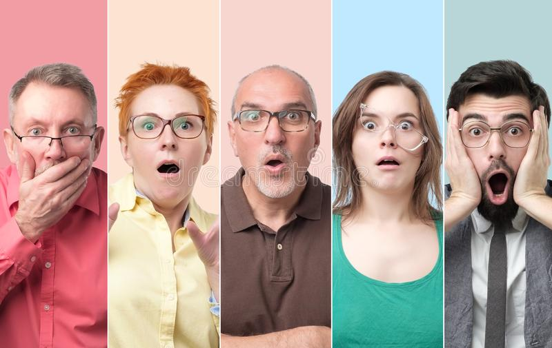 男人和妇女拼贴画戴感觉的眼镜冲击和注重 免版税库存照片