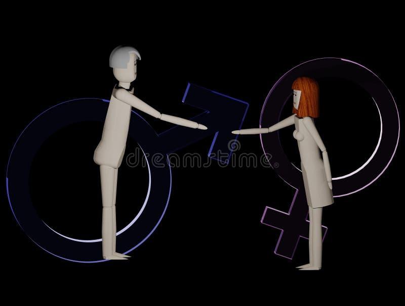 男人和妇女握手标志男性和女性在背景中 皇族释放例证