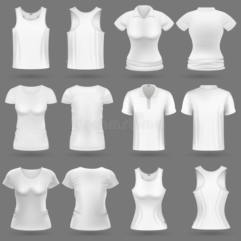 男人和妇女时尚的白色空白3d T恤杉传染媒介模板设计 库存例证