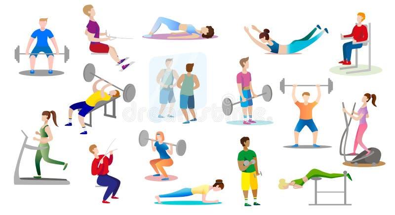 男人和妇女是在健身房的允诺的举重 库存例证
