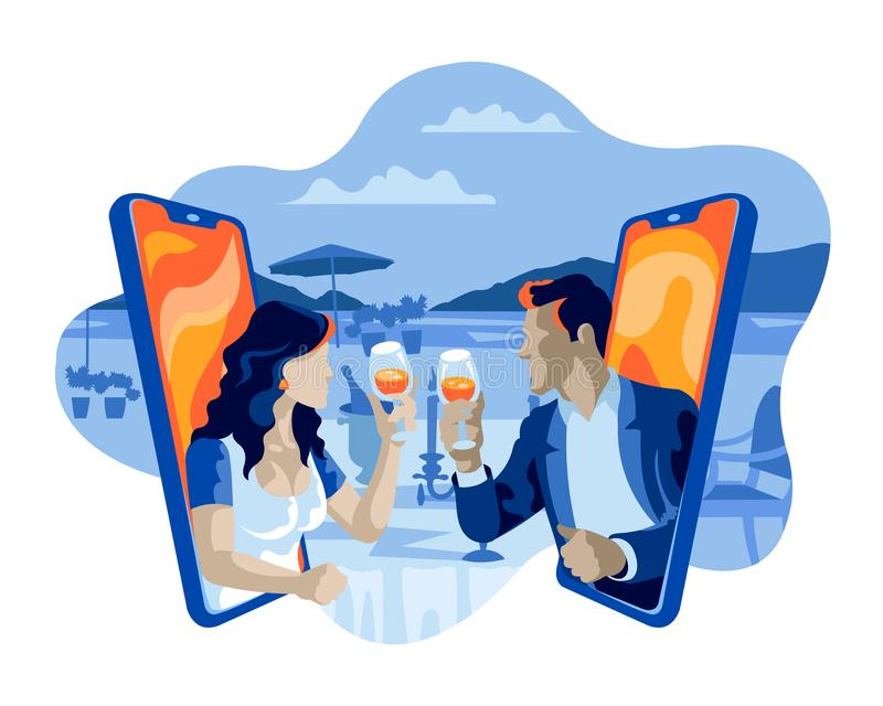 男人和妇女有多士的酒约会平的例证概念的网上互联网 皇族释放例证