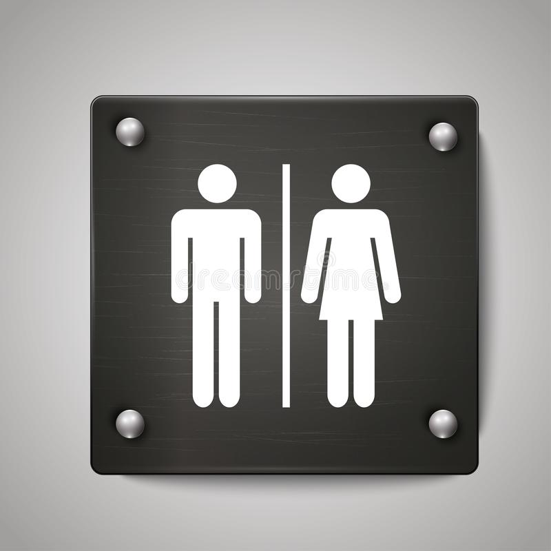 男人和妇女洗手间象标志有黑背景 向量例证