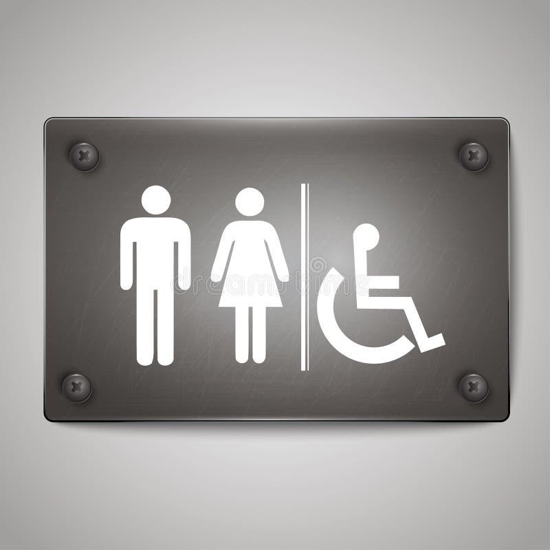男人和妇女洗手间象标志有黑背景 库存例证