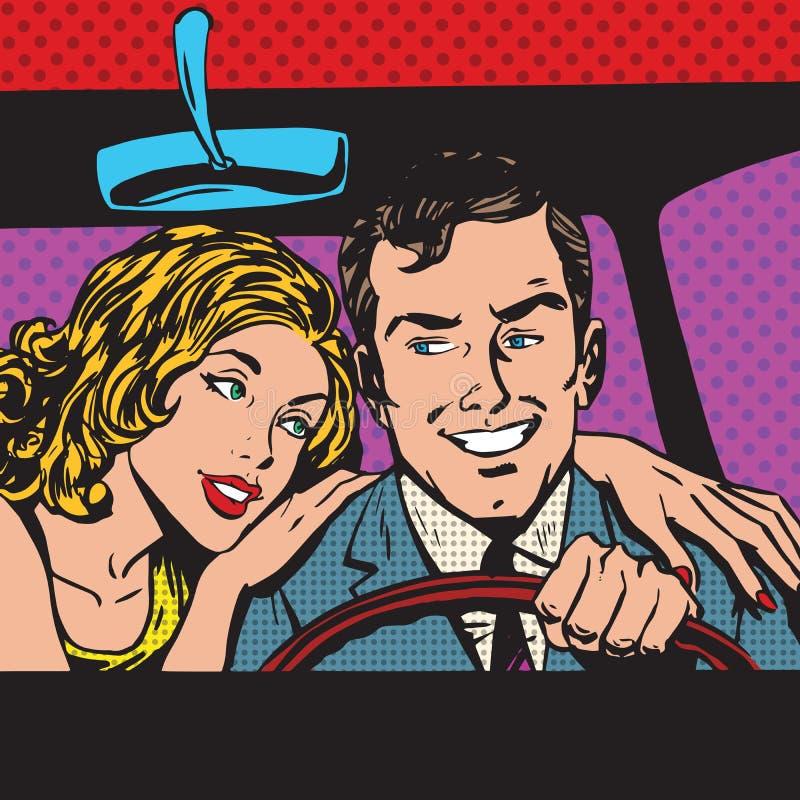 男人和妇女流行艺术漫画减速火箭的样式中间影调 向量例证