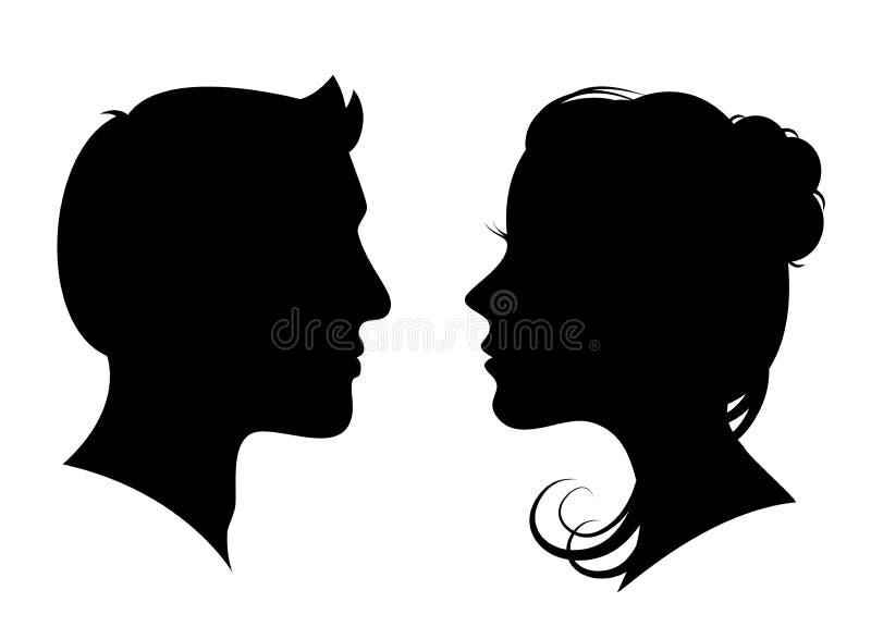 男人和妇女现出轮廓面对面-股票的传染媒介 库存例证
