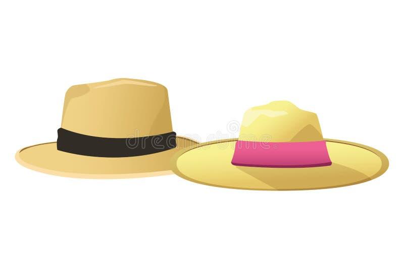 男人和妇女的夏天帽子 向量例证