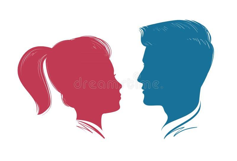 男人和妇女纵向 顶头外形,剪影 婚礼,爱,人标志 也corel凹道例证向量 向量例证