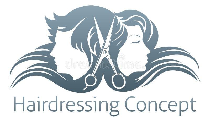 男人和妇女美发师剪刀概念 库存例证