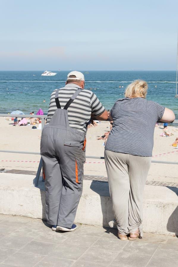 男人和妇女谈的面孔向海 免版税库存照片