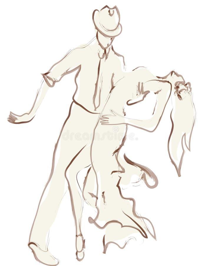 男人和妇女跳舞 向量例证
