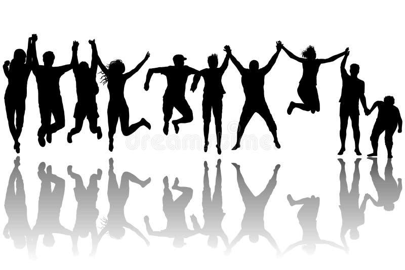 男人和妇女跳跃 向量例证