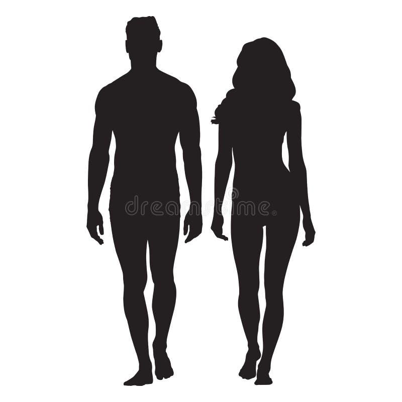男人和妇女身体剪影 人走 皇族释放例证